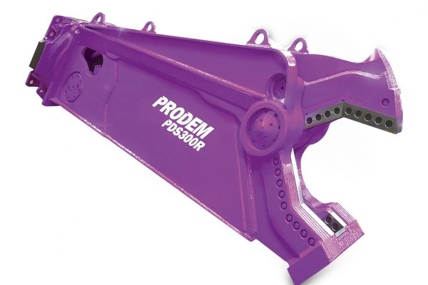 Prodem dedicated steel shear attachment in purple