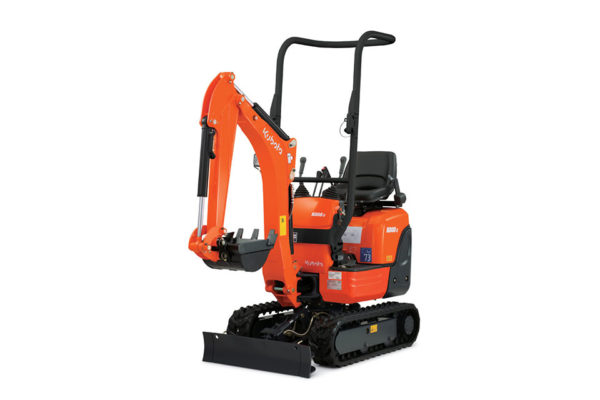 Mini Kubota excavator with roll-bar that's small enough to fit between doorways