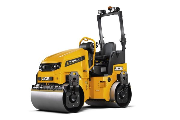 JCB VMT mini roller in yellow and black with a roller at the front and rear