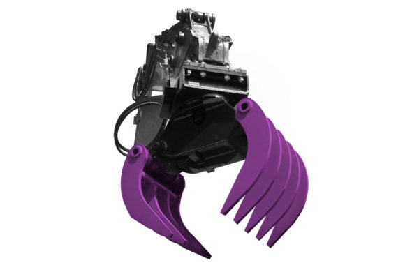 A purple and black Prodem timber grabber attachment for hire